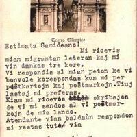 Cartolina di Giovanni Trentin del Vicenza Esperanto Centro