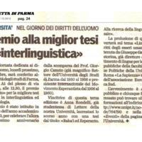 """Premio alla miglior tesi in """"interlinguistica"""""""