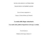 La tutela delle lingue minoritarie: uno studio delle politiche linguistiche in Europa e in Italia