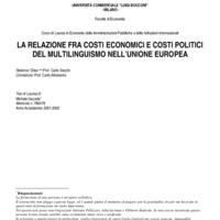 La relazione fra costi economici e costi politici del multilinguismo nell'Unione Europea
