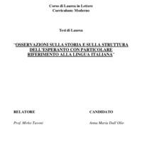 Osservazioni sulla storia e sulla struttura dell'esperanto con particolare riferimento alla lingua italiana