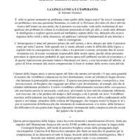 La lingua unica e l'esperanto