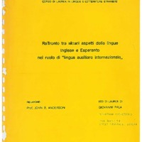 """Raffronto tra alcuni aspetti delle lingue Inglese e Esperanto nel ruolo di """"lingua ausiliaria internazionale"""""""