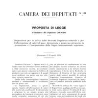 Disposizioni per la difesa della diversità linguistico-culturale e per l'affermazione di valori di pace, democrazia e progresso attraverso la promozione e l'insegnamento della lingua internazionale esperanto