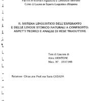 Il sistema linguistico dell'Esperanto e delle lingue storico-naturali a confronto: aspetti teorici e analisi di rese traduttive