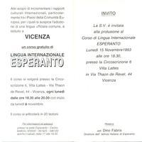 Corso di esperanto 1993-1994 a Vicenza