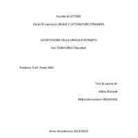 La diffusione della lingua esperanto sul territorio italiano